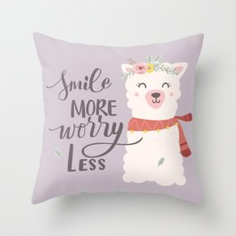 SMILE MORE, WORRY LESS! - Sweet lavender quote Throw Pillow