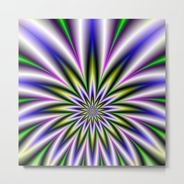 Star Burst in Green Yellow Pink Blue and Violet Metal Print