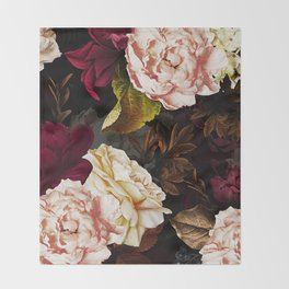 Vintage & Shabby Chic - Midnight Rose and Peony Garden Throw Blanket