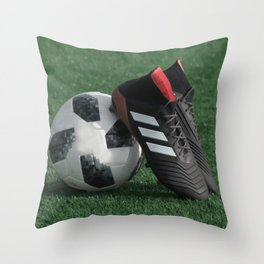 Football with soccer shoes #sports #society6 Throw Pillow