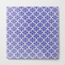 Damask (Navy Blue & White Pattern) Metal Print