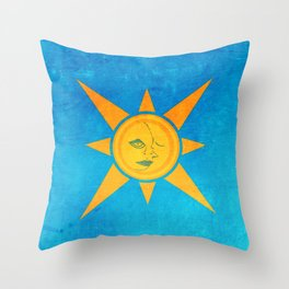 Sun Shining and Moon Sleeping Throw Pillow