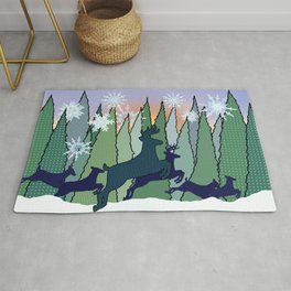 Deer and Snowy Forest Meadow Rug