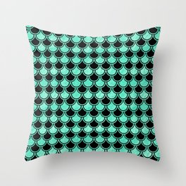Aqua Mermaid Scales Pattern Throw Pillow