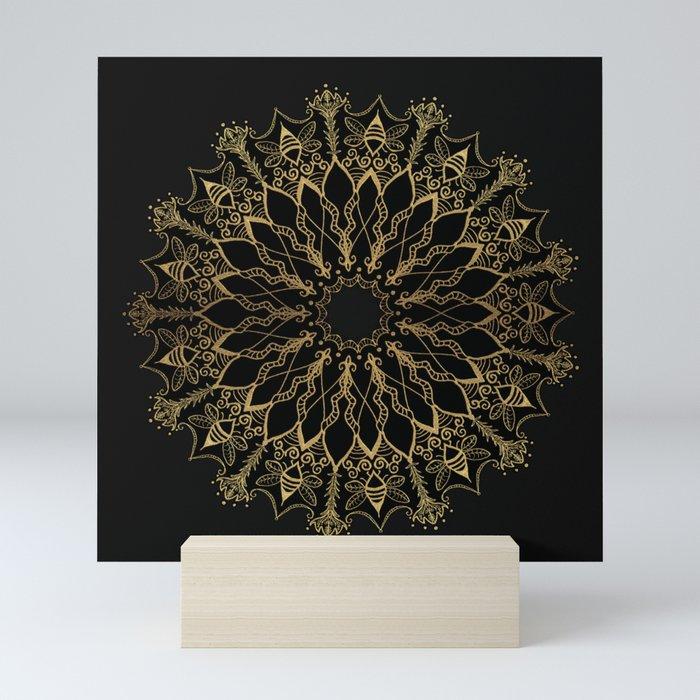 Golden Bee Mandala Mini Art Print