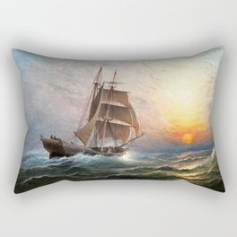 Sailing into the Storm, Sunset, marine nautical landscape by Charles Henry Gifford Rectangular Pillow