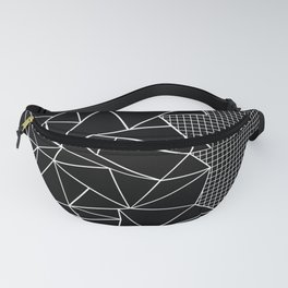 Abstract Grid Outline White on Black on Side Fanny Pack
