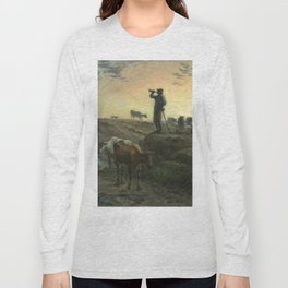"""Jean-François Millet """"Calling Home the Cows"""" charcoal drawing Long Sleeve T-shirt"""