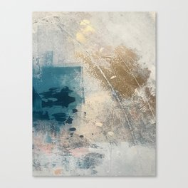 Embrace: a minimal, abstract mixed-media piece in blues and gold with a hint of pink Leinwanddruck