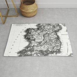 Vintage Black and White Ireland MAp Rug