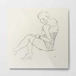 Vintage Woman Sketch Metal Print