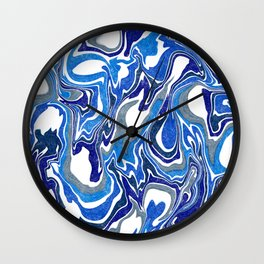 Blue, Grey and White Liquid Abstract Wall Clock