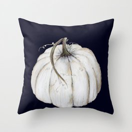White pumpkin on navy Throw Pillow