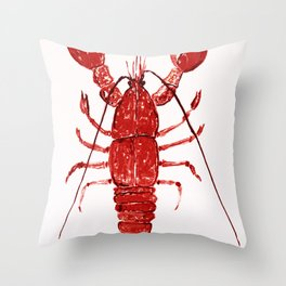 Red Lobster nautical seascape Throw Pillow
