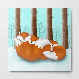 Slepping foxes Metal Print