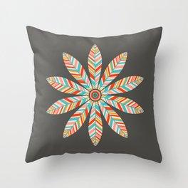 PETAL MANDALA - DARK Throw Pillow
