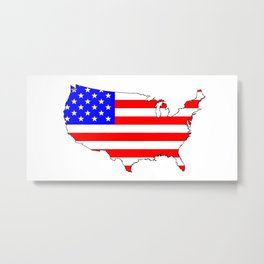 USA Flag Map Metal Print