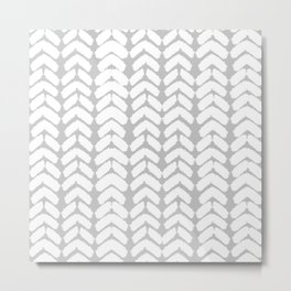 Hand-Drawn Herringbone (White & Gray Pattern) Metal Print