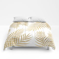 Gold palm leaves Comforters
