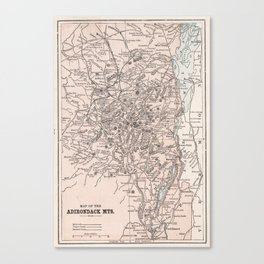 Vintage Map of The Adirondack Mountains (1901) Canvas Print