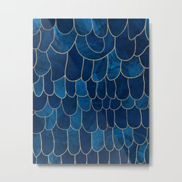 Stratosphere Sapphire // Abstract Blue Flowing Gradient Gold Foil Cloud Lining Water Color Decor Metal Print