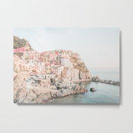 Positano, Italy Amalfi coast pink-peach-white travel photography in hd Metal Print