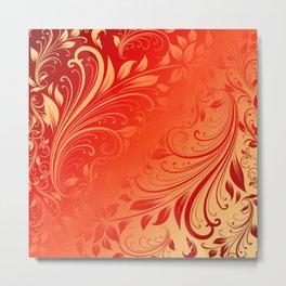 Orange red swirls leaves  Metal Print