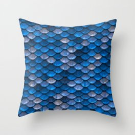 Mermaid Blues Scales Throw Pillow