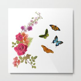 Butterflies and flowers arrangement isolated on white Metal Print