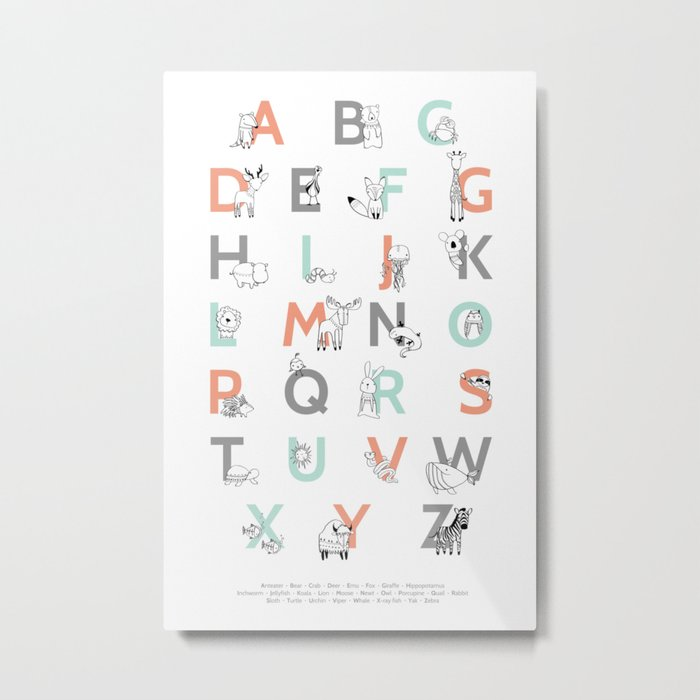 Animal Alphabet Metal Print
