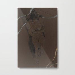 Nude Woman Pencil Charcoal Drawing Realistic Minimalist Conceptual Symbolist Art Dark Brown  Metal Print