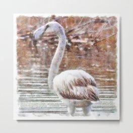 Flamingo Feathers Watercolor Metal Print