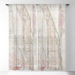 Long Island New York 1842 Mather Map Sheer Curtain