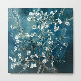 Van Gogh Almond Blossoms : Dark Teal Metal Print