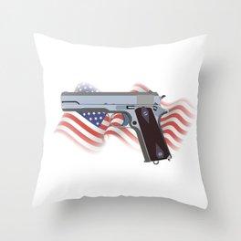 American Patriotic Semi-automatic Pistol Throw Pillow