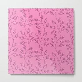 Doodle floral coordinate lilac Metal Print