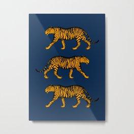 Tigers (Navy Blue and Marigold) Metal Print