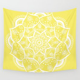 Mellow Yellow Flower Mandala Wall Tapestry