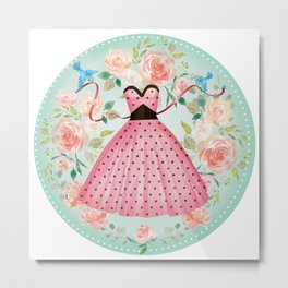 Roses, Bluebirds And The Perfect Polka Dot Party Dress Metal Print