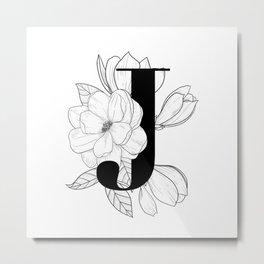 Monogram Letter J with Magnolia Line Art Metal Print