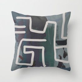 Muted Blue and Green Painting with Abstract White Line Throw Pillow