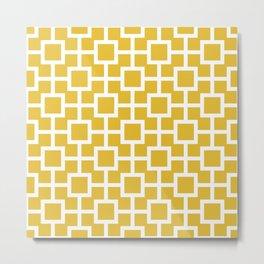 Classic Hollywood Regency Pattern 221 Mustard Yellow Metal Print