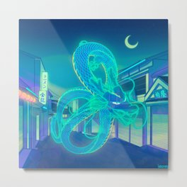 Neon Dragon Metal Print