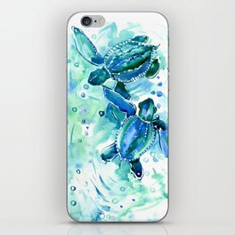 Turquoise Blue Sea Turtles in Ocean iPhone Skin