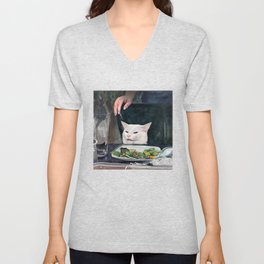 Woman Yelling at Cat Meme-2 Unisex V-Neck