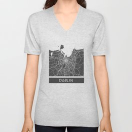 Dublin Map blue Unisex V-Neck