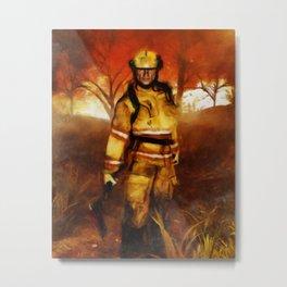 FIRST RESPONDER - Firefighter, Bushfires, Emergency Services Metal Print