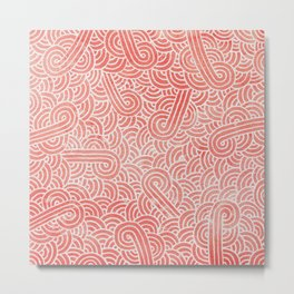 Peach echo and white swirls doodles Metal Print