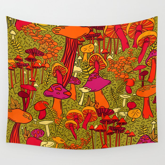 Mushrooms in the Forest Wall Tapestry