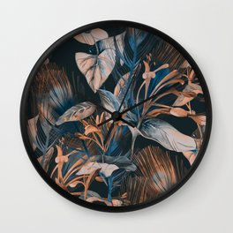 Beautiful Retro hand sketch seamless tropical dark summer forest pattern with colorful palm trees,leaves,exotic wild and plants hand drawn illustration pattern Wall Clock